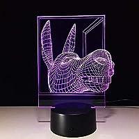 3D常夜灯7色タッチライト光学ファントムライトホームオフィスデコレーションライト(動物)