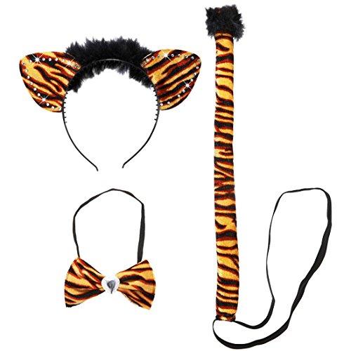 Amakando Tiger Kostüm Damen Safari Tierkostüm 3 TLG. Sexy Katzenkostüm Tigerkostüm Set Karnevalskostüme Tiere Zoo Faschingskostüm Dschungel Katze Kostümset