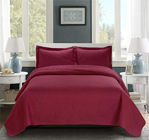 "bednlinens&things 3 pc Solid Embossed Floral Pattern All Season, Light Weight Bedspread Bed-Coverlet Over Size 118""x106"" (Jules Burgundy, King)"