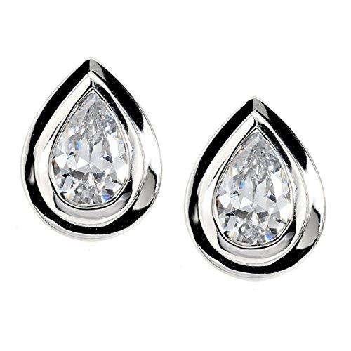Eva Pfeffinger modernes Silberdesign Damen Ohrstecker Tropfen Sterling-Silber 925 rhodiniert Zirkonia weiß