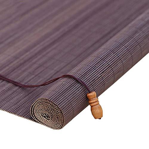 Jiayuan rolgordijnen van bamboe, oprolbaar, horizontaal, voor ramen, partitie rolgordijnen om op te rollen, zonwering, voor balkon, slaapkamer, thee, 85/105/125 85×160cm Bruin