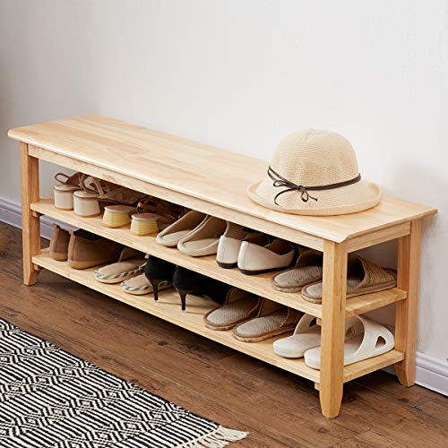 """ACRO Storage Bench Wooden Shoe Bench Simple Style Wood Entryway Bench Shoe Rack (Natural,47.2"""")"""