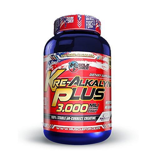 Muscle Force Kre-Alkalyn la creatina más Pura Que te Proporciona Fuerza, Potencia y Resistencia. 120 capsulas.