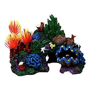 Flyzy Marine Fish Tank Aquarium Ornament Colorful Artificial Resin Coral Cave House Decor Coral conch shell rockery resin grass false tree