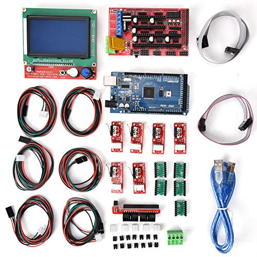 ASHATA Scheda Madre Kit Stampante 3D, Scheda Madre Kit Controller Stampante 3D per Mega 2560 + Display LCD 12864 + A488 Kit Driver Motore Passo-Passo + Dissipatore + Cavo USB Kit Accessorio