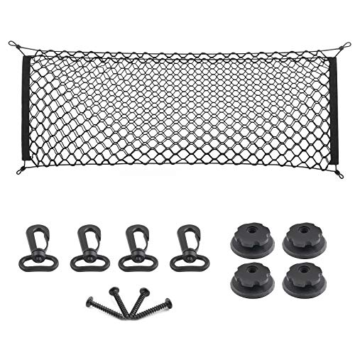 MICTUNING 2-Layer Heavy Duty Cargo Net, 43 x 23 Inch Universal Truck Bed Net with Hooks, Elastic Storage Mesh Net Organizer Compatible for Pickup Truck SUV