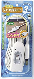 (業務用セット) ELPA スイッチ付延長コード 3m W-S1030B(W) 【×5セット】 ds-1484044