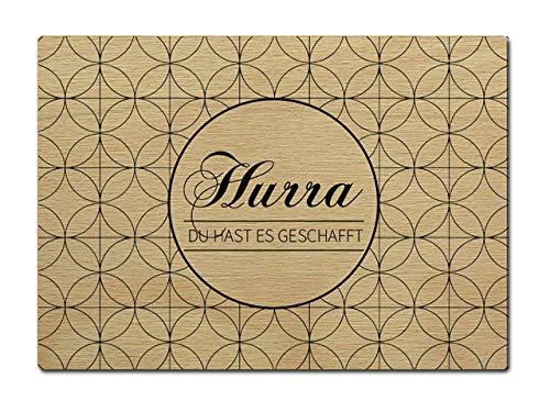 Interluxe briefkaart van hout Hurra Du hast es geslaagd afsluiting DIN A6 105 x 148 mm kaart echt hout wenskaart spreuk test geluksdag