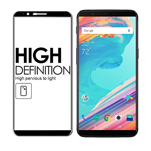 OnePlus 5T Screen Protector, Full Coverage 9H Hardness Tempered Glass Scratch Proof Screen Protector Anti-Bubble Film for One Plus 5T 2017 Released, 5D - Black