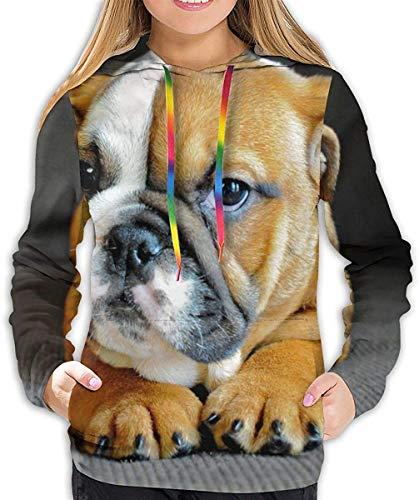 ZharkLI Pullover Kapuzen-Sweatshirts für Frauen Mädchen Damen, Lustig Cool Outwear Gr. 46, Große englische Bulldogge
