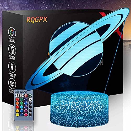 Colorido 3D noche luz ilusión lámpara iluminación planeta A con 16 colores RGB lámpara de noche táctil brillo ajustable cumpleaños regalo decoración para bebé niño niña niños