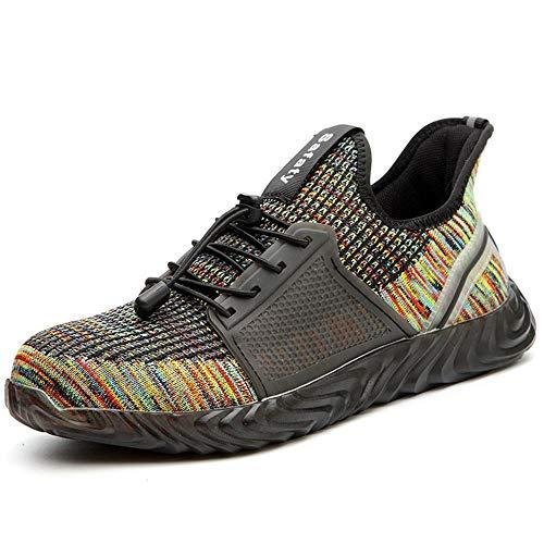 Zapatos de Seguridad Hombre Mujer Zapatillas Zapatos de Trabajo con Puntera de Acero Zapatos de Industrial Ligero Comodas Antideslizante Calzado de Seguridad Trabajo para Verano Unisex 35-48