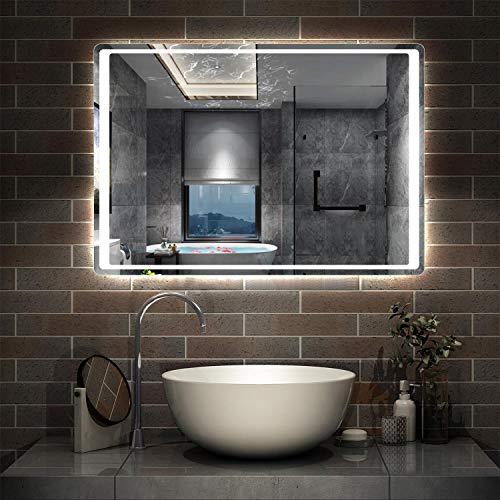AicaSanitär LED Badspiegel 90×65cm Badspiegel mit Beleuchtung Lichtspiegel Badezimmerspiegel Wandspiegel Infrarot-Sensor-Schalter Antibeschlag IP44 Kaltweiß energiesparend