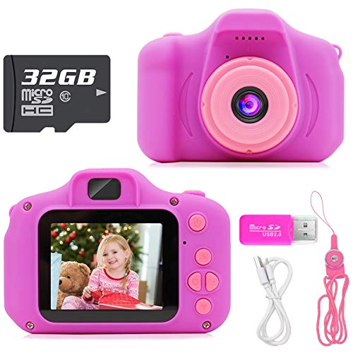 Hachi's Choice Gifts Kids Camera Toys for 1-4 Year Old Girls and Boys, Compact Cameras for Toddlers,Best 1 2 3 4 Year Old Boy Girl Birthday Gift,Purple (32G SD Card Included)