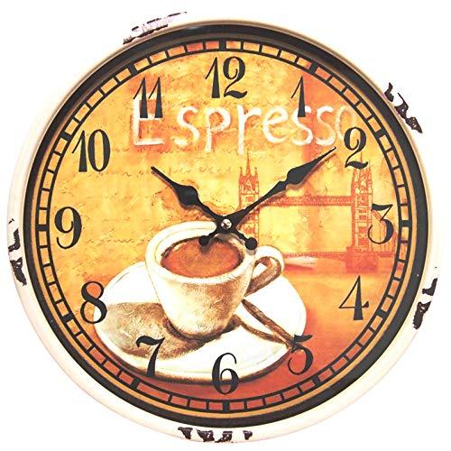 perla pd design Metall Wanduhr mit Glasscheibe Vintage Design Espresso Farbe altweiss lackiert ca. Ø 30 cm