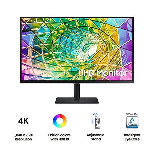 SAMSUNG S80A Series 32-Inch 4K UHD (3840×2160) Computer Monitor, HDMI, USB Hub, HDR10 (1 Billion Colors), Height Adjustable Stand, TUV-Certified Intelligent Eye Care (LS32A804NMNXGO)