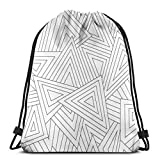 BXBX Plegable Bags Monochrome Scattered Triangle Seamless Texture Drawstring Bag for Sports School Travel Swimming Bags Men, Women Students