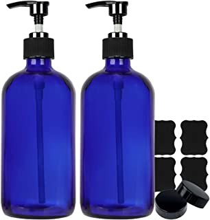 16 oz Blue Glass Boston Bottles with Pumps,Set of 2,Refillable Glass Pump Bottles for Essential Oils, Bath, Shampoo, Lotio...