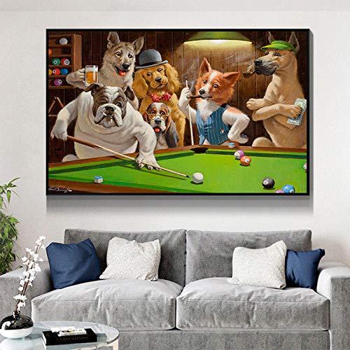 ZGZART Animal de Dibujos Animados Creativo Perro Jugando al Billar Lienzo Pintura Cartel impresión Pared Arte Imagen para Sala de Estar decoración del hogar -60x80cm (sin Marco)