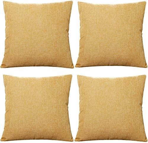 Tennove - Juego de 4 fundas de almohada de lino y algodón estilo vintage cuadrado fundas de cojín decorativas para sofá, cama, banco (55 x 55 cm), color amarillo
