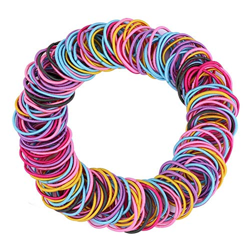 200 Pcs Multicolor Baby Girls Hair Ties No Crease Hair Bands Elastics Ponytail Holders Hair Accessories for Kids Girls Infants Toddlers (3cm in Diameter, 3mm in Thickness)