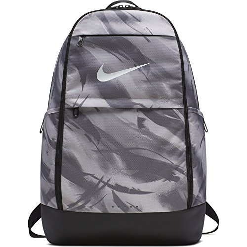 NIKE Brasilia All Over Print Backpack, Atmosphere Grey/Black/White, X-Large