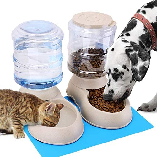 Automatic Cat Feeder and Water Dispenser in Set...