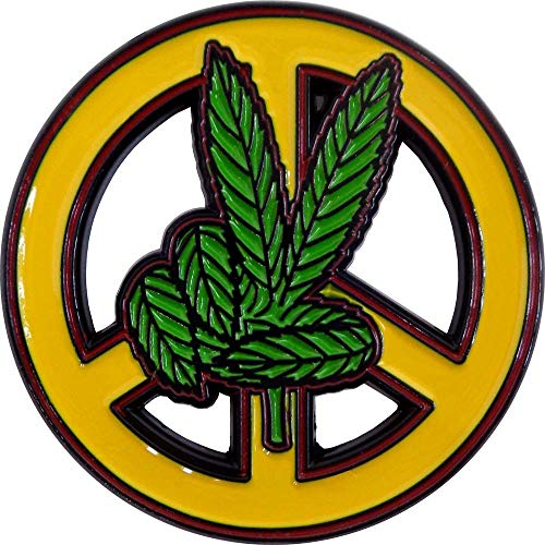 Marijuana Leaf Fingers on Yellow Peace Sign Enamel Pin