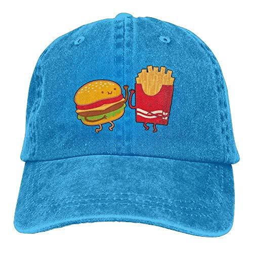 Aeykis Herren Damen Baseball Cap Burger und Fries Washed Jean Strapback Cap für Herren