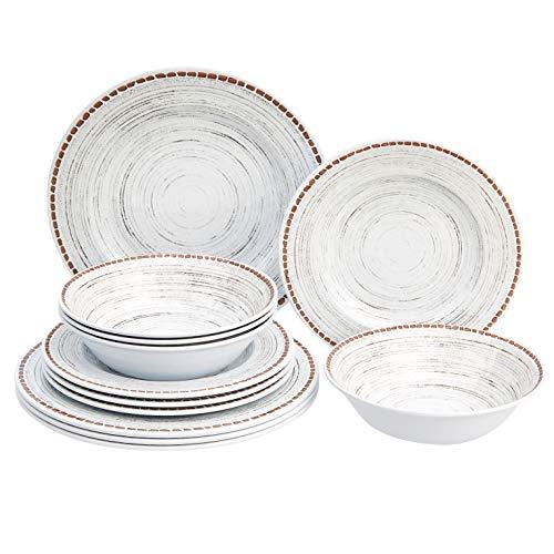 Amazon Basics 12-Piece Melamine Dinnerware Set - Service for 4 White Stoneware Swirl