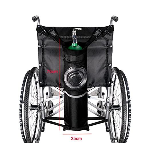MOVKZACV Bolsa de oxígeno para mochila para silla de ruedas, bolsa de oxígeno portátil para tanque de oxígeno, bolsa de almacenamiento de rayas reflectantes negra Bolsa de cilindro de oxígeno