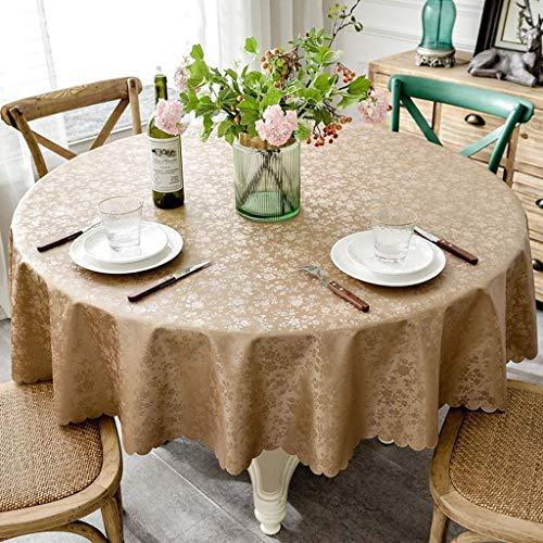 XHNXHN Manteles redondos de poliuretano, hule de estilo nórdico simple para mesa circular, a prueba de polvo, para mesa de bufet, mesa de café (café, redondo de 140 cm)