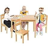GOPLUS 5 TLG. Kindersitzgruppe, Kindertisch mit 4 Stühlen, Kindersitzgruppe Kiefer, Kinderstuhl & Tisch Holz, Sitzgruppe für Kinder, Sitzgruppe Kinderzimmer, Vorschüler Kindermöbel (Modell 3)