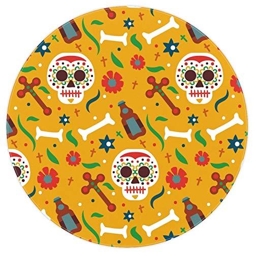 nakw88 Alfombra de piso grande redonda con estampado de calaveras de 160 cm, color amarillo