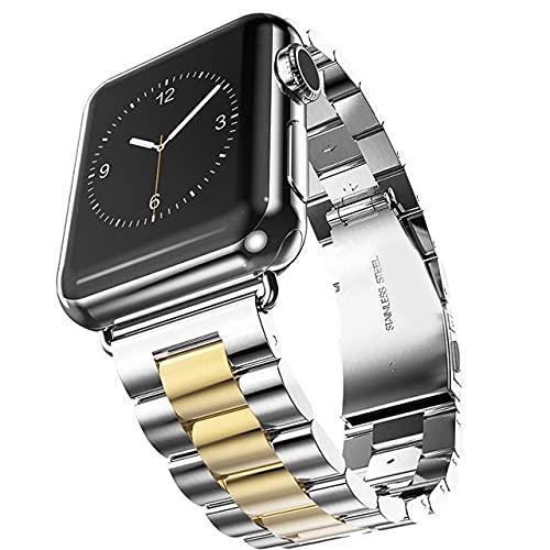 Correa Metálica de Reloj Correa de Banda de Reloj 40mm 44mm 42mm Black Steel de Acero Inoxidable Correa Adaptador Correa Reloj (Band Color : Silver Gold, Band Width : 42 and 44mm)
