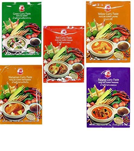 Cock Brand - 5 pastas de curry diferentes por 50 g (Rojo, Amarillo, Verde, Panang, Matsaman)