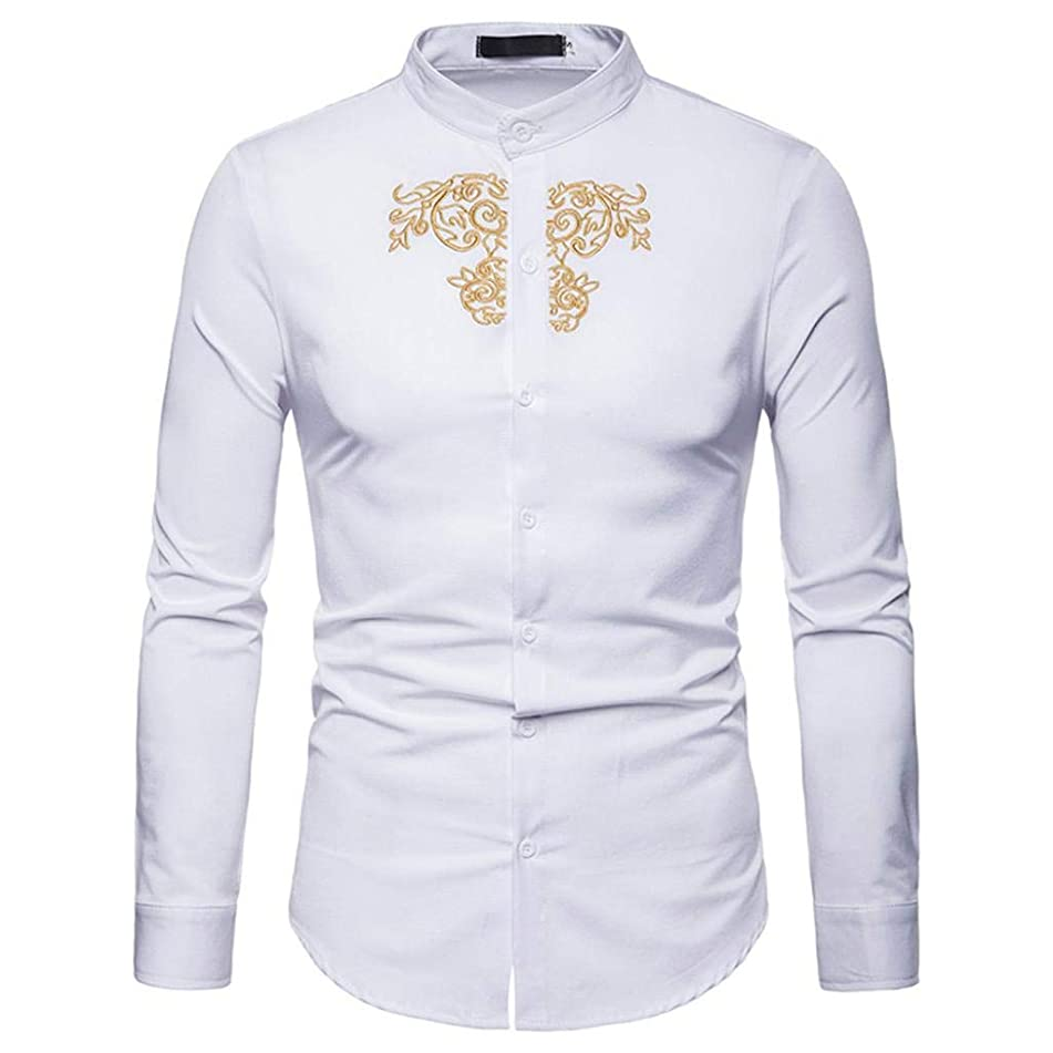 Clearance 2018 Shirts for Men, Jiayit Mens Hipster Casual Slim Fit Long Sleeve Button Down Dress Shirts Tops with Gold Embroidery (M, White)