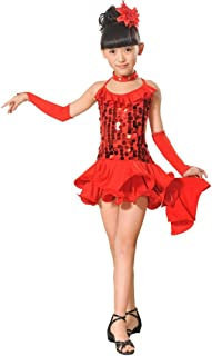4b95bee6 K-youth Ninas Borla Latino Vestido De Baile Vestido Danza Latina Niña Traje  Baile Tango