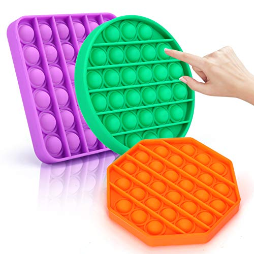 BESTTRENDY Push Pop Bubble Sensory Toy Stress Reliever Fidget Toy for Autism Special Needs Silicone Stress Anxiety for Kids Adults Family Friends in Home School amp Office 3PCS
