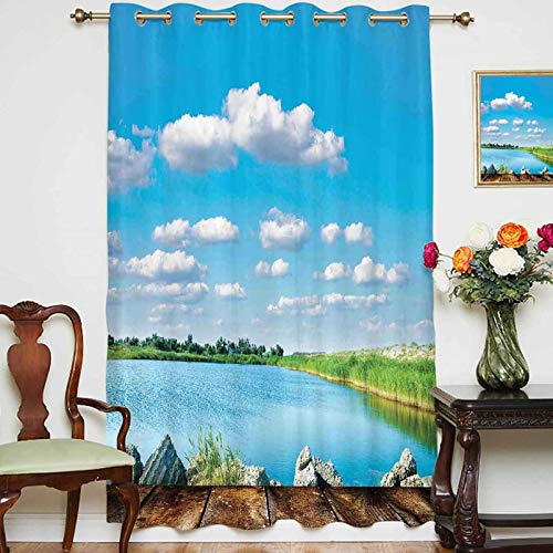 Blackout Curtains Panels Picturesque Forest Sky and The River View from an Old Wooden Pier Relax Nature Deco Grommet Top Thermal Insulated Curtain for Home Decor,1 Panel,70' x 84',Blue White Green