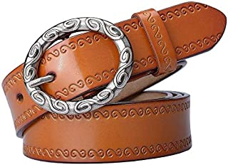 Supporter Equipment Women Waist Belt Women's Belt Leather Casual Belt Fine Decorative Simple Pin Buckle Belt Pure Leather Belt Suitable for All Seasons and Places (Color : Orange, Size : 105cm)