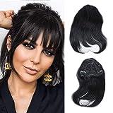 MTAI Human Hair Bangs Clip on Real Hair for Black Women Black Color Hair Bangs Extensions