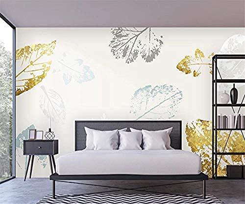 Minimalistic Abstract Golden Leaves Blue for Walls Murals Carta da parati per camera da letto e soggiorno Elementi di decoraz Carta Da Parati panno camera da letto moderna 3D Fotomurali-400cm×280cm