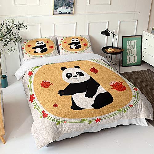 Hiser Juego de Ropa de Cama de 3 Piezas, 3D Juego de Fundas Edredón Impresión de Pandas Microfibra con 1 Funda Nórdica + 2 Funda de Almohada (Naranja,150x200cm)
