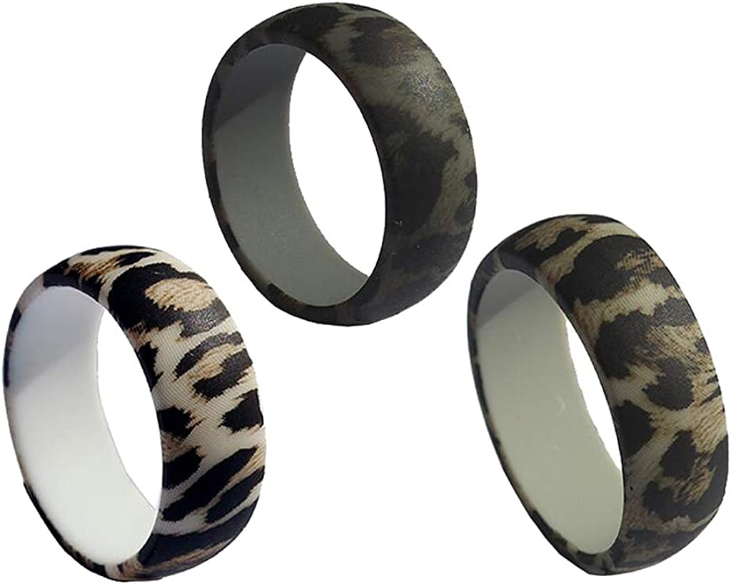 Bonarty 3pcs Punk Leopard Texture Band Mens Silicone Rings Wedding Jewelry