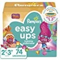 Pampers Easy Ups Pull On Disposable Potty Training Underwear for Girls and Boys, Size 4 (2T-3T), 74 Count, Super Pack (Packaging May Vary)
