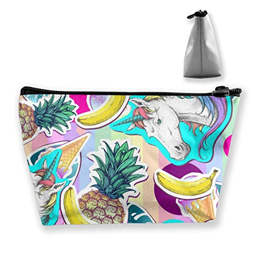 Summer Seamless Pattern with Unicorn and Pineapple Personalized Trapezoidal Storage Bag Ladies Waterproof for Carrying Travel