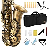 Eastar Alto Saxophone E Flat Student Alto Sax Antique Finish Beginner Alto Saxophone Eb With Cleaning Cloth,Carrying Case,Mouthpiece,Neck Strap,Cork Grease,Reeds,Stand, Bronze, AS-Ⅱ-Ab