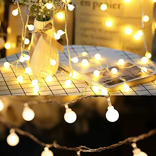 Globe Fairy Lights, Globe String Lights , USB or Battery Powered, Indoor Outdoor Gazebo Lights for Christmas, Bedroom, Patio, Balcony, Holiday and Wedding (Battery, 10M 80LED)