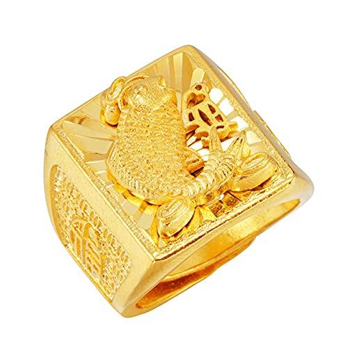 Anillo de joyería para hombre Koi tallado a mano Comfort Fit Dubai Anillos de oro de 24 K para hombre Anillo de boda Ancho 22mm Anillo ajustable
